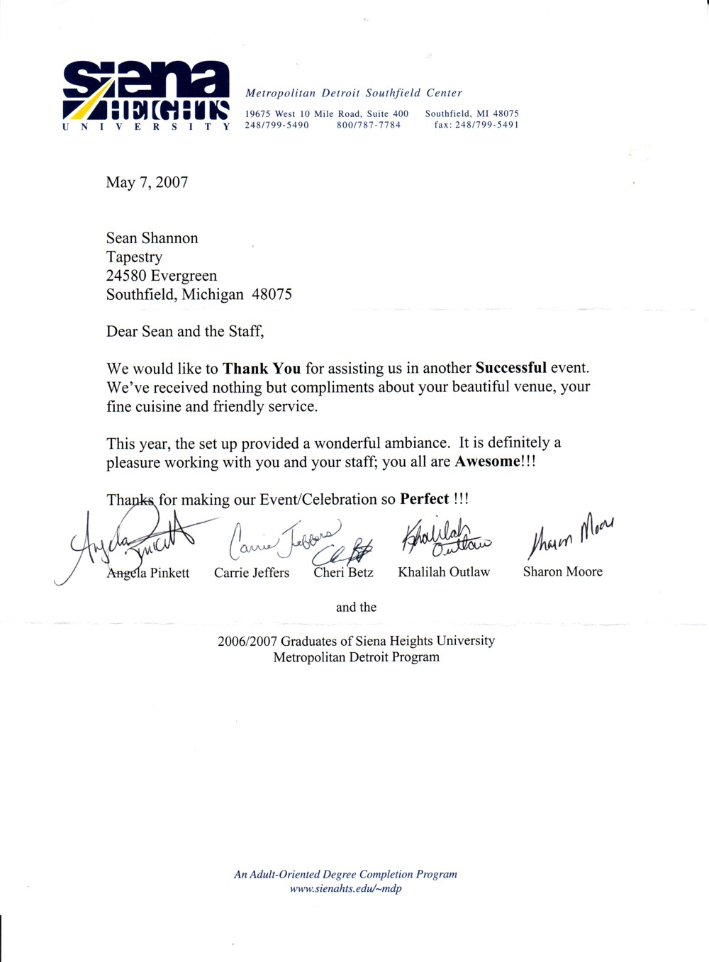 Tapestry Banquet Hall and Catering – Thank You Letters for Recommendation